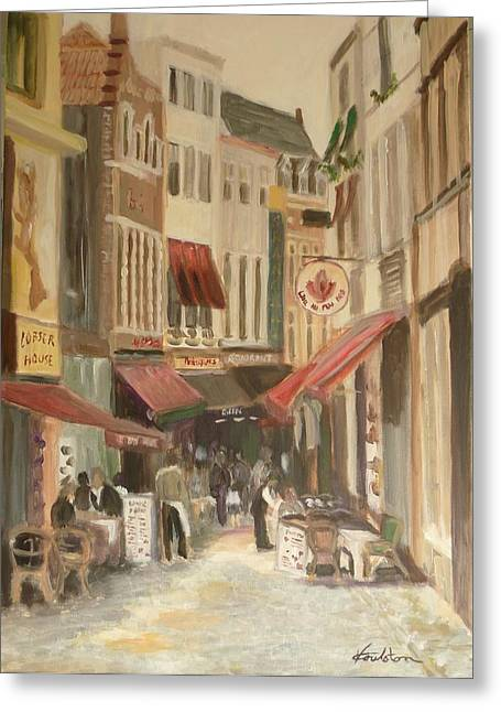 Al Fresco Greeting Cards - Street Scene in Brussels Greeting Card by Veronica Coulston