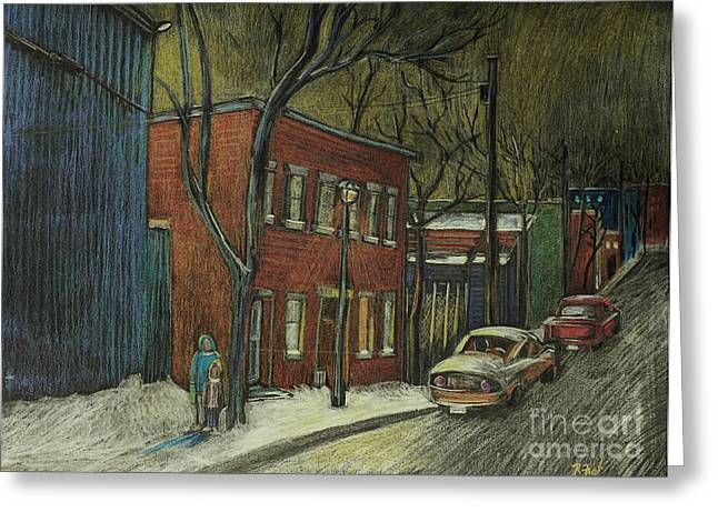 Montreal Streets Greeting Cards - Street Scene in Pointe St. Charles Greeting Card by Reb Frost