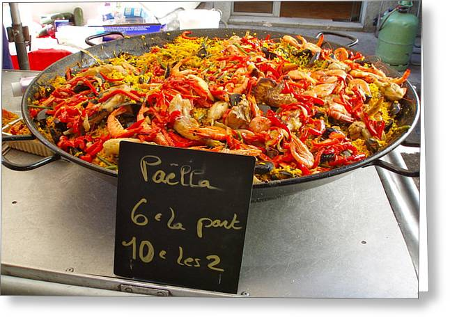 Paella Greeting Cards - Street Seafood Greeting Card by Jacqueline Cappadora