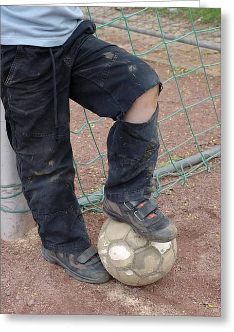 Pause Greeting Cards - Street soccer - torn trousers and ball Greeting Card by Matthias Hauser