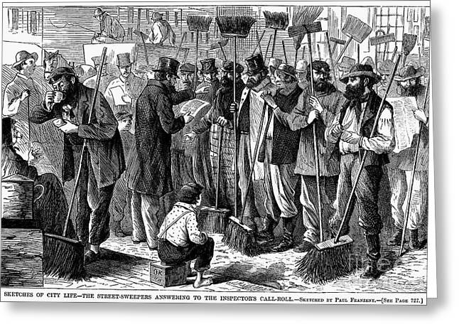 Street Sweeper Greeting Cards - Street Sweepers, 1868 Greeting Card by Granger