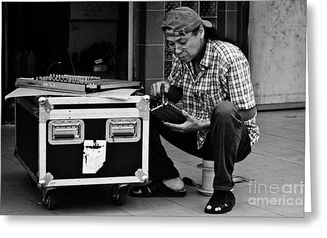 Monochrome Greeting Cards - Street Worker Greeting Card by John Buxton