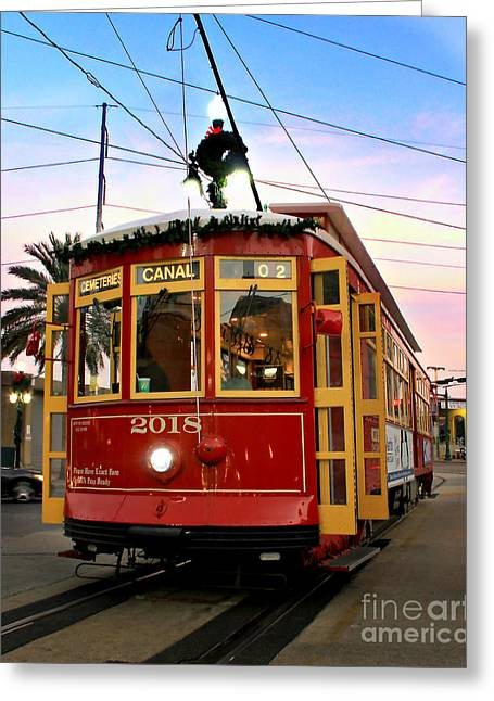 Best Sellers -  - Historical Pictures Greeting Cards - Streetcar Sunset Greeting Card by Perry Webster