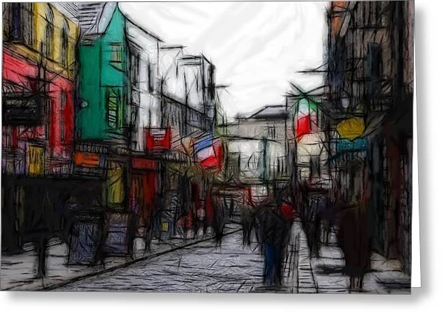 City Life Pastels Greeting Cards - Streetlife Greeting Card by Stefan Kuhn
