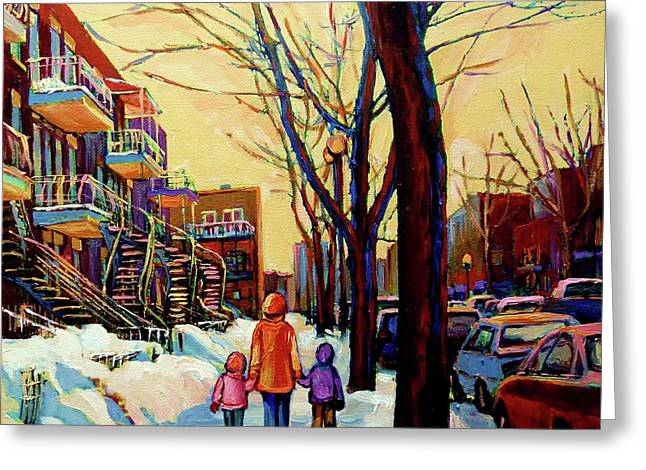 Classical Montreal Scenes Greeting Cards - Streets Of Montreal Rue Debullion  Winter In The Plateau Greeting Card by Carole Spandau