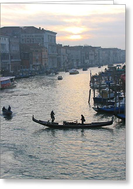 Streets Of Venice Greeting Card by Regina  Visconi