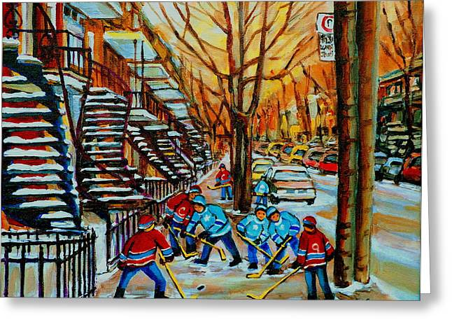 Montreal Artist Paints Verdun Street Scenes Greeting Cards - Streets Of Verdun Hockey Art Montreal City Scenes With Winding Staircases And Row Houses Greeting Card by Carole Spandau