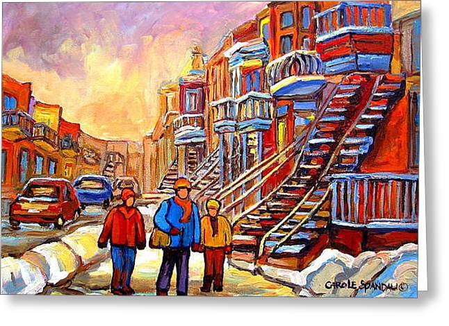 Montreal Artist Paints Verdun Street Scenes Greeting Cards - Streets Of Verdun Montreal Staircase Painting   Greeting Card by Carole Spandau