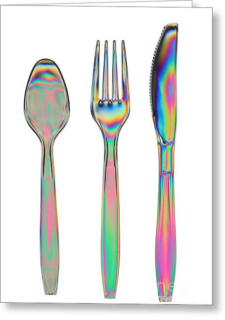 Double Rainbow Greeting Cards - Stress In Plastic Utensils Greeting Card by Ted Kinsman