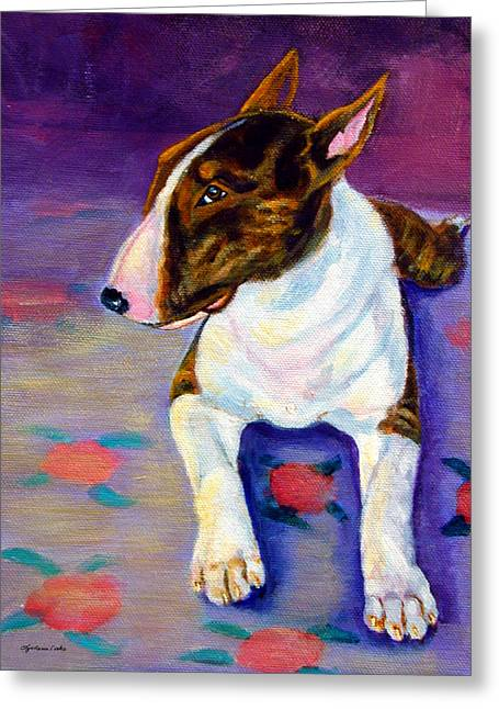 Bull Terrier Greeting Cards - Stretch - Bull Terrier Greeting Card by Lyn Cook