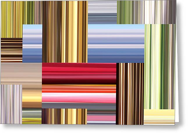 Pixel Stretching Greeting Cards - Stretch of Colors Greeting Card by Phil Perkins