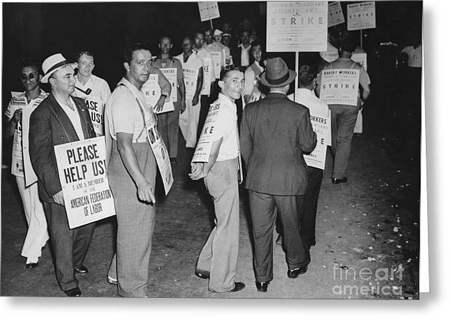 Protest Greeting Cards - Strike, 1940s Greeting Card by Photo Researchers