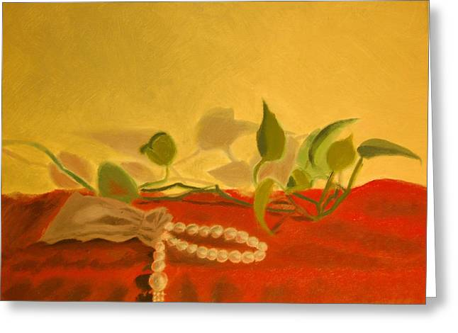 Still Life Jewelry Greeting Cards - String of Pearls Greeting Card by Krishnamurthy S