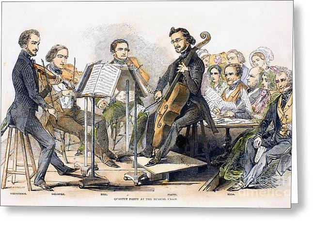 Recently Sold -  - Engraving Greeting Cards - String Quartet, 1846 Greeting Card by Granger