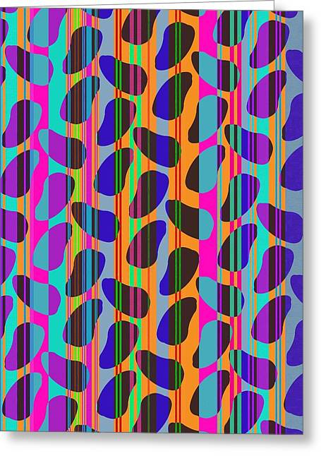 Bold Style Greeting Cards - Stripe Beans Greeting Card by Louisa Knight