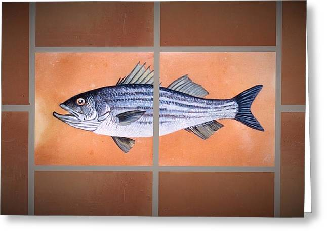 Hand-made Ceramics Greeting Cards - Striped Bass Greeting Card by Andrew Drozdowicz