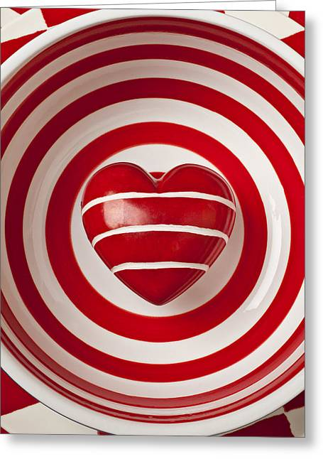 Stone Bowl Greeting Cards - Striped heart in bowl Greeting Card by Garry Gay