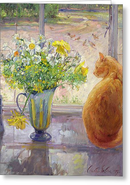 Birds With Flowers Greeting Cards - Striped Jug with Spring Flowers Greeting Card by Timothy Easton