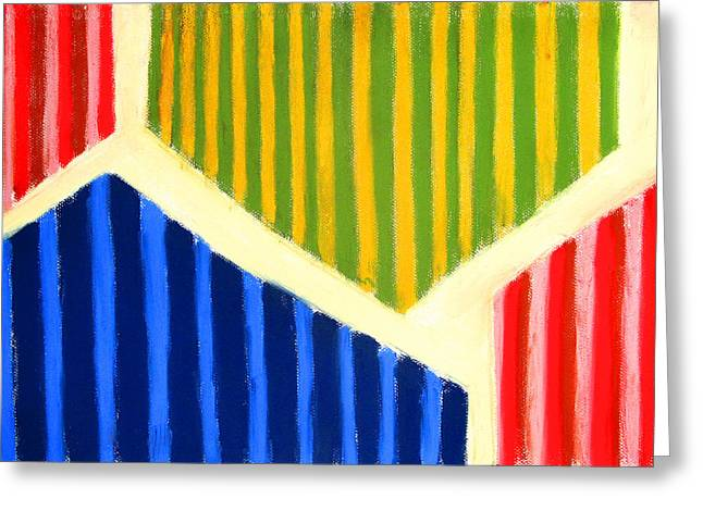 Abstractions Pastels Greeting Cards - Striped Polygons Greeting Card by Kazuya Akimoto