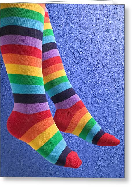 Sock Greeting Cards - Striped socks Greeting Card by Garry Gay
