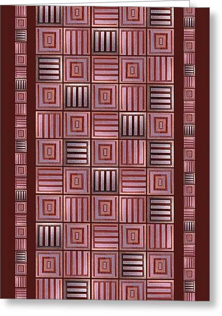 Geometric Digital Art Greeting Cards - Striped squares on a brown background Greeting Card by Elena Simonenko