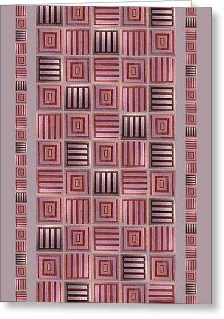 Geometric Digital Art Greeting Cards - Striped squares on a gray background Greeting Card by Elena Simonenko