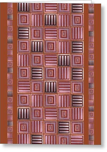 Geometric Digital Art Greeting Cards - Striped squares on a mustard background Greeting Card by Elena Simonenko