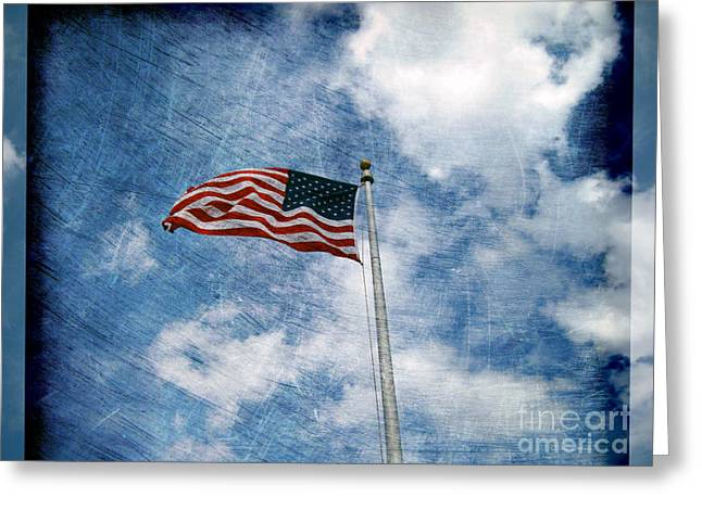 Flag Of Usa Greeting Cards - Stripes and Stars and Clouds in the Sky Greeting Card by Susanne Van Hulst