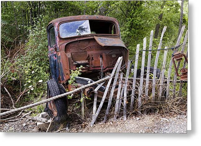Rusty Pickup Truck Greeting Cards - Stripped Greeting Card by Peter Chilelli
