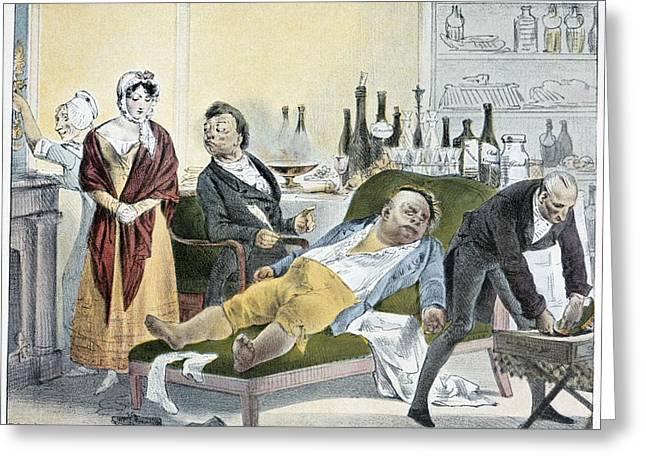 Die Karikatur Und Satire In Der Medizin Greeting Cards - Stroke (apoplexy), Satirical Artwork Greeting Card by