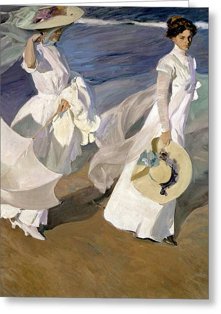 Shore Greeting Cards - Strolling along the Seashore Greeting Card by Joaquin Sorolla y Bastida