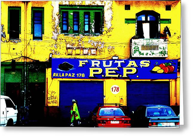 Fruit Store Greeting Cards - Strolling by Funky Frutas de Santiago  Greeting Card by Funkpix Photo Hunter