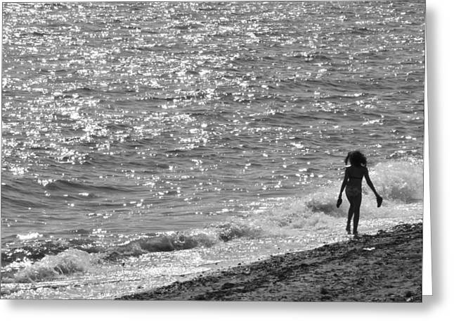 A Hot Summer Day Greeting Cards - Strolling on Connecticut Beach Greeting Card by Cindy Lee Longhini