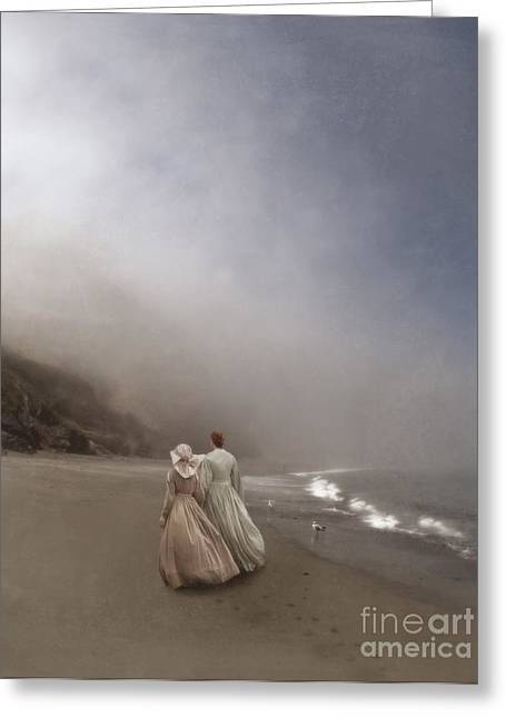 Foggy Ocean Greeting Cards - Strolling on the Beach Greeting Card by Jill Battaglia