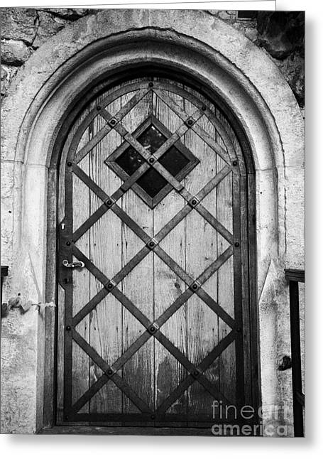 Strengthen Photographs Greeting Cards - Strong Wooden Metal Braced Fortified Door For Strength In Wawel Castle Krakow Greeting Card by Joe Fox