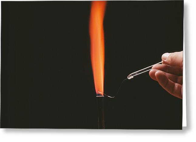 Strontium Flame Test Greeting Card by Andrew Lambert Photography