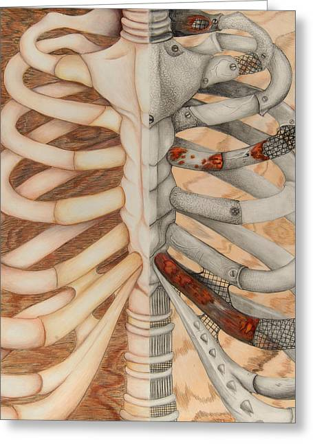 Mahogany Drawings Greeting Cards - Structure Greeting Card by Kayleigh Dickson