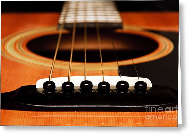 Fretboard Greeting Cards - Strum Front Greeting Card by Andee Design