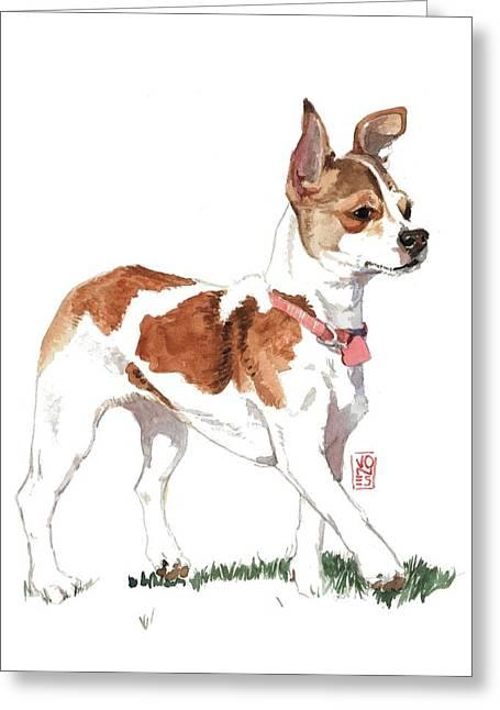 Chihuahua Portraits Greeting Cards - Strutting Chihuahua Greeting Card by Debra Jones