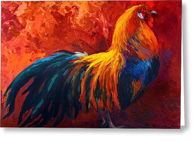 Roosters Greeting Cards - Strutting His Stuff - Rooster Greeting Card by Marion Rose