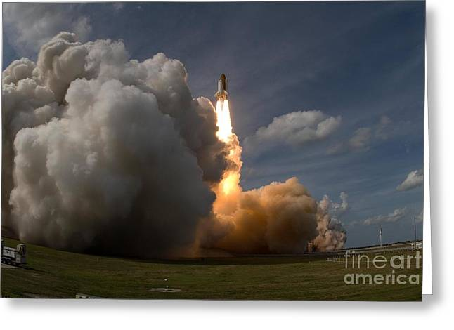 Atlantis Greeting Cards - Sts-122 Launch Greeting Card by Nasa