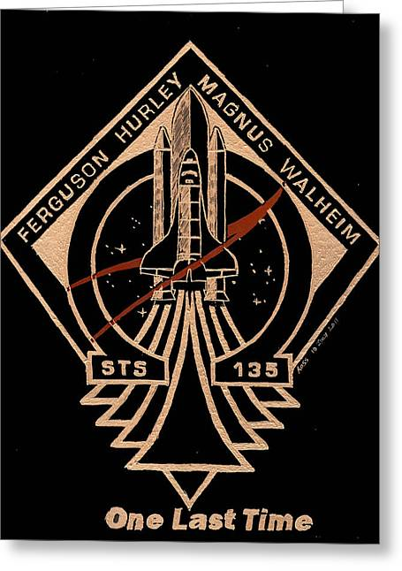 Spaceshuttle Glass Art Greeting Cards - STS-135 One Last Time Greeting Card by Jim Ross