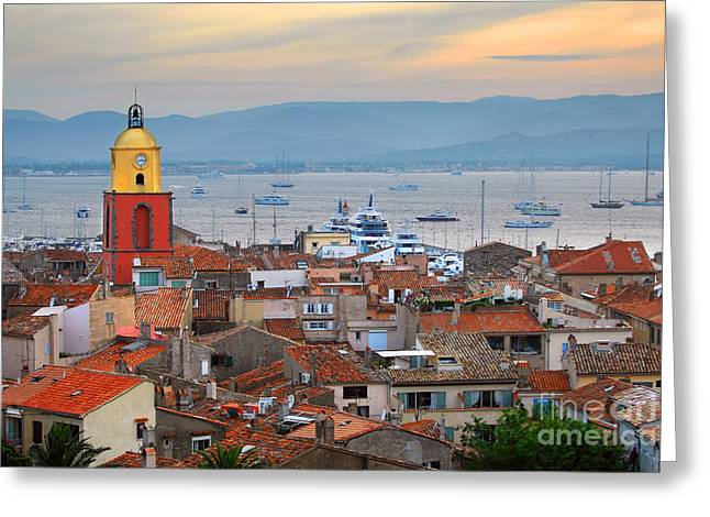 Azur Greeting Cards - St.Tropez at sunset Greeting Card by Elena Elisseeva