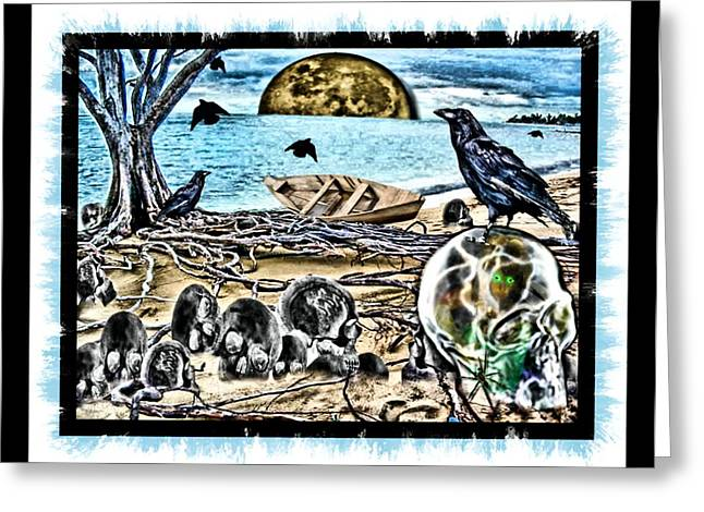 Crow Greeting Cards - Stuck Inside Greeting Card by Tisha McGee