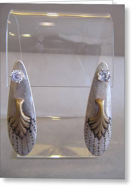 Gold Earrings Jewelry Greeting Cards - Stud Jackets Greeting Card by Brenda Berdnik