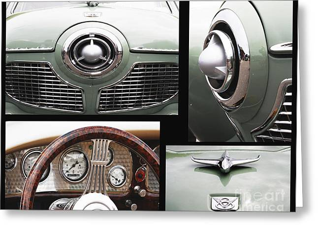 Car Part Mixed Media Greeting Cards - Studebaker Collage Print Greeting Card by ArtyZen Studios