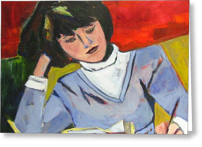 Homework Paintings Greeting Cards - Student Greeting Card by Betty Pieper