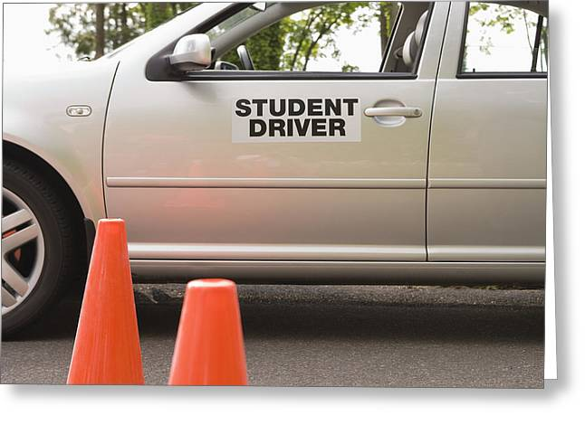 Safety Cones Greeting Cards - Student Driver Car and Traffic Cones Greeting Card by Andersen Ross