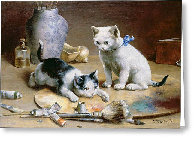 Cute Kitten Paintings Greeting Cards - Studio Assistants Greeting Card by Carl Reichert
