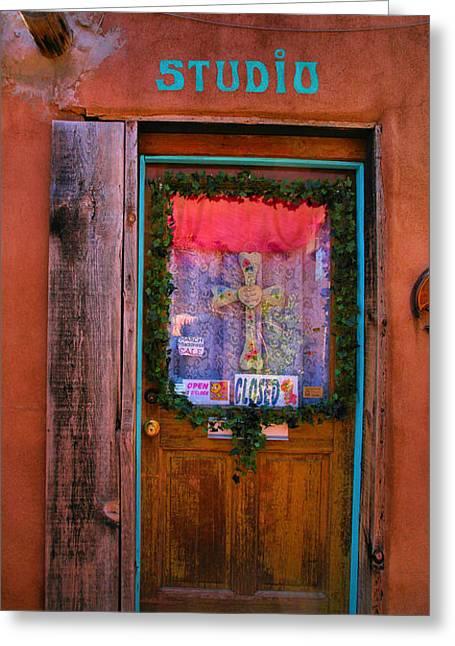 Framed Old Door Print Greeting Cards - Studio Door Greeting Card by Steven Ainsworth